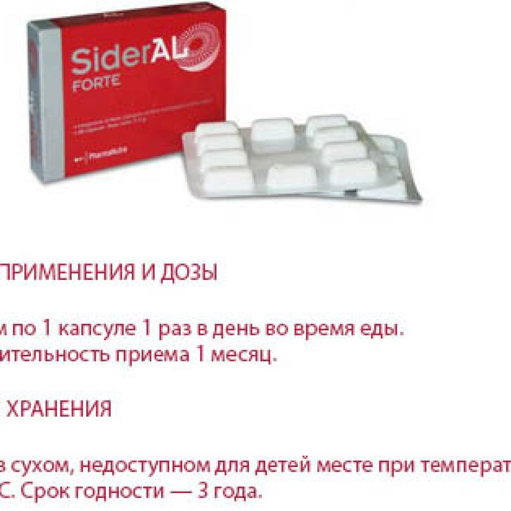 Способ применения таблеток SiderAL