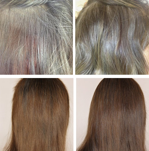 До и после масок для волос