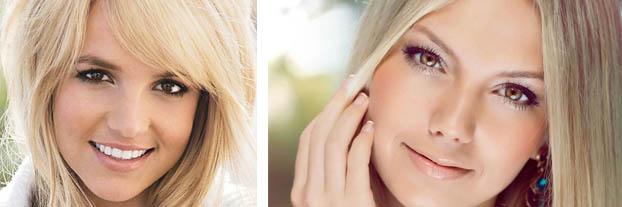 Сочетание светлых локонов и карих глаз