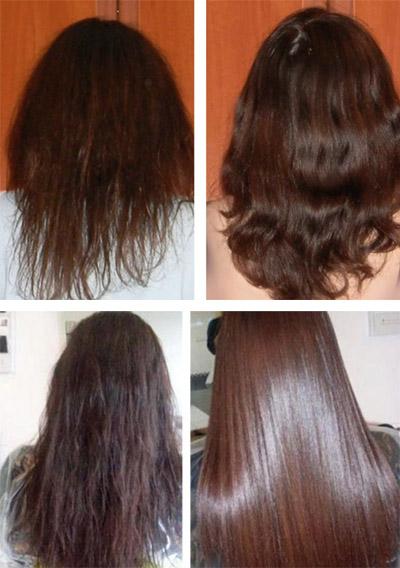 Фото до и после нанесения масок
