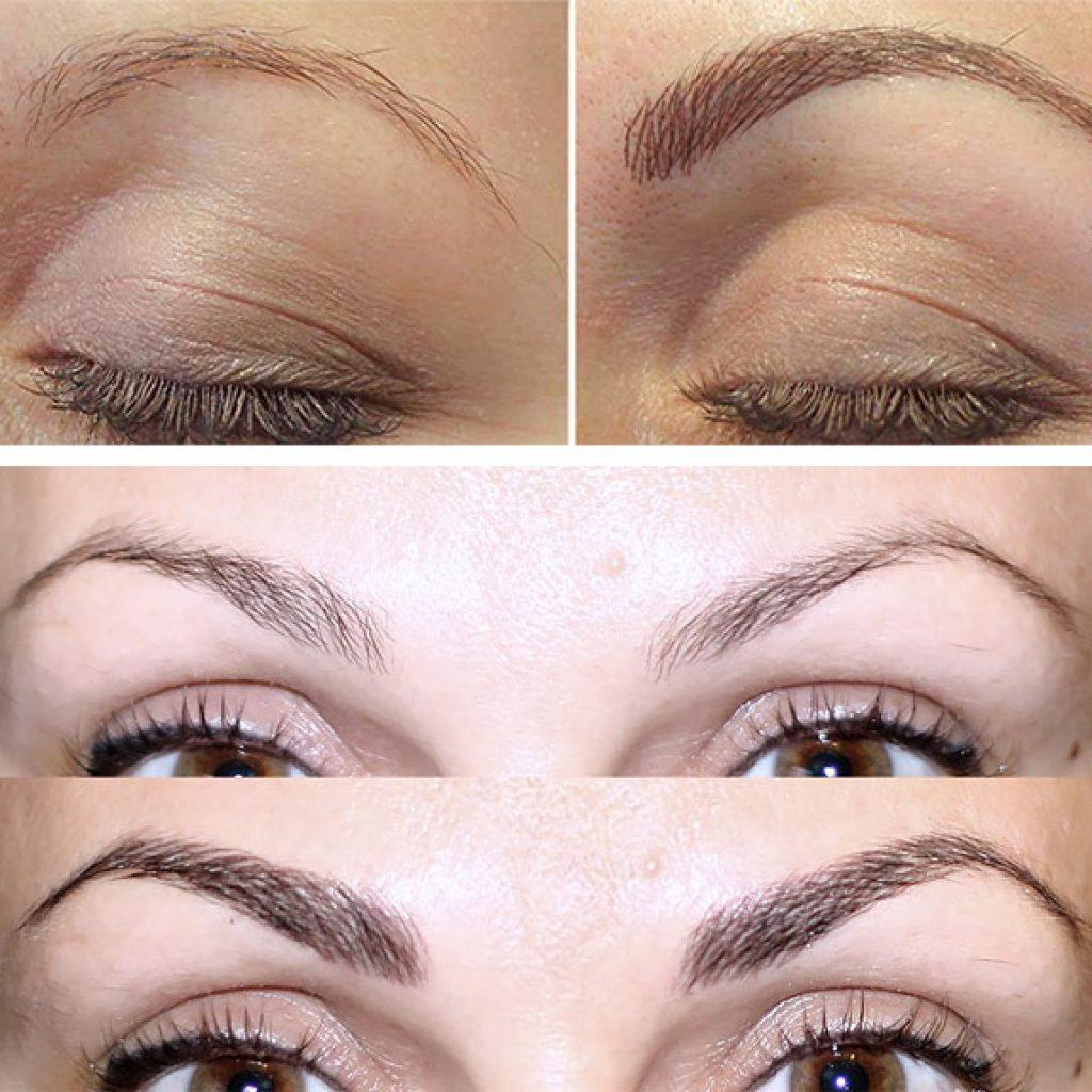 До и после перманентного макияжа