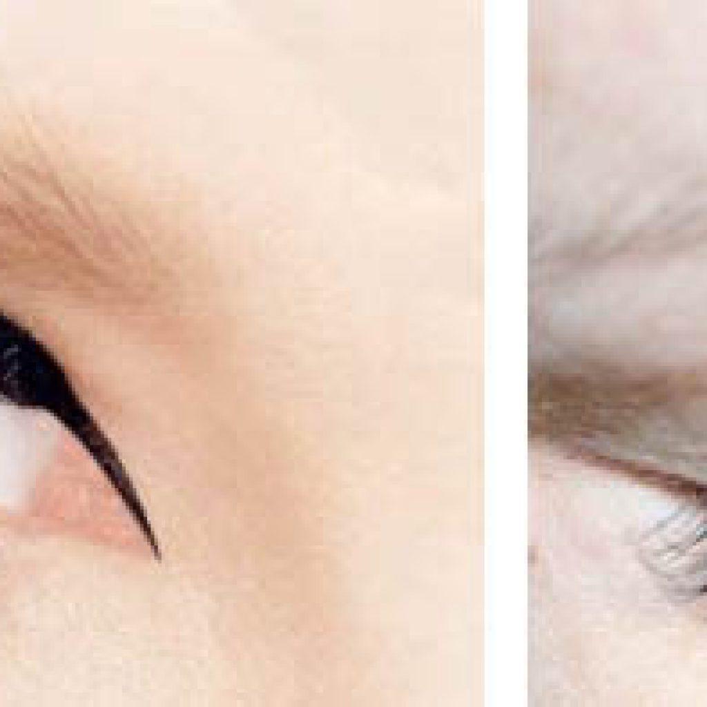 Наращивание на внешних уголках глаз