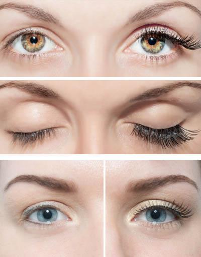 Нарощенные реснички по бокам глаз
