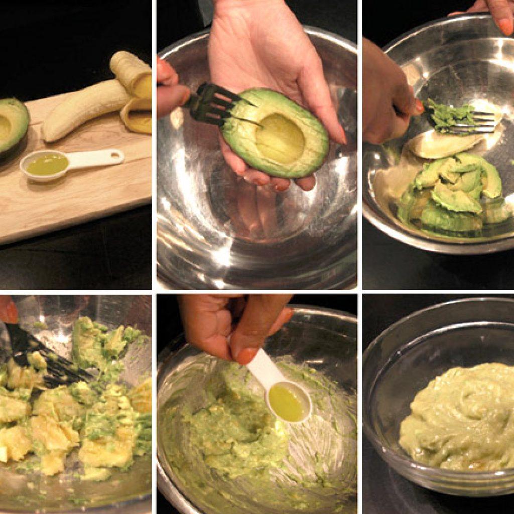 Приготовление смеси из авокадо и банана