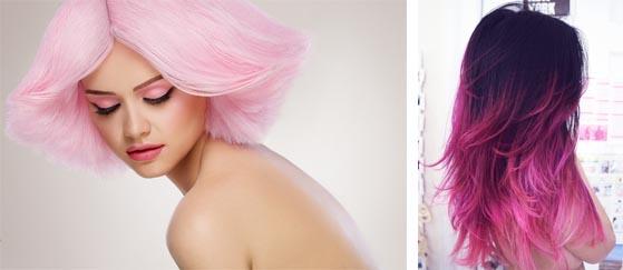 Волосы цвета зефира и фуксии