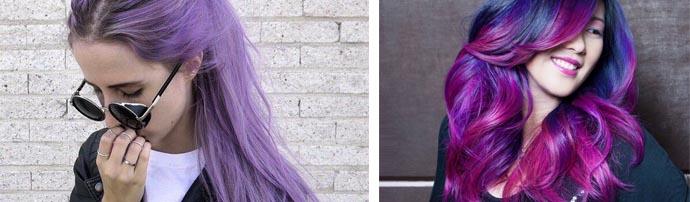 Фиолетовые оттенки локонов