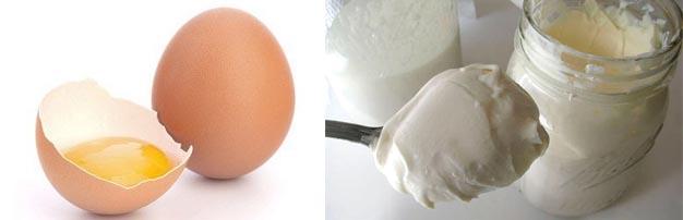 Яйцо и сметана для волос