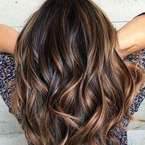 Фото балаяжа на волосах темных оттенков